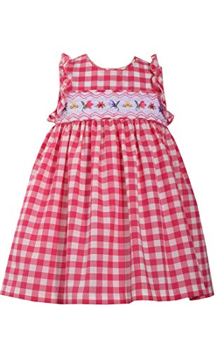 Bonnie Jean Fuchsia Gingham Checked Smocked Dress - Jeans Gingham Jean Bonnie