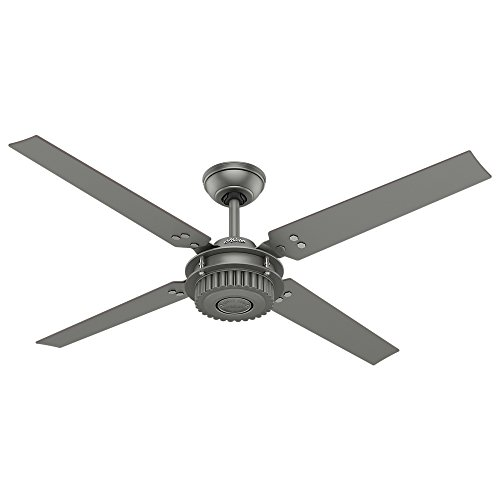 Hunter Indoor Outdoor Ceiling Fan, with wall control – Chronicle 54 inch, Matte Silver, 59236