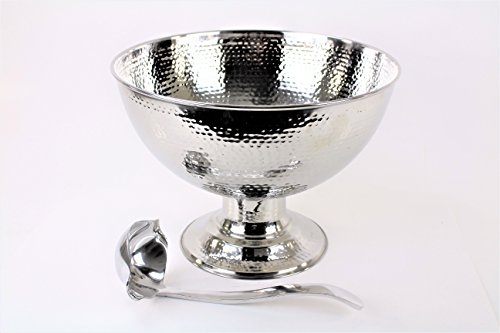 HAMMERED STAINLESS STEEL PUNCH BOWL 4 GALLON(AND LADLE) by E GIFT ART