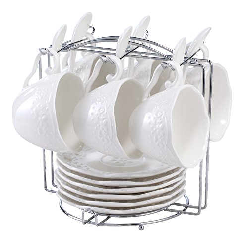 (Eglaf Coffee Tea Cup Set Embossed Ceramic (Bone china) and Porcelain Saucers Scoop Bracket 6 - Piece Set (White))