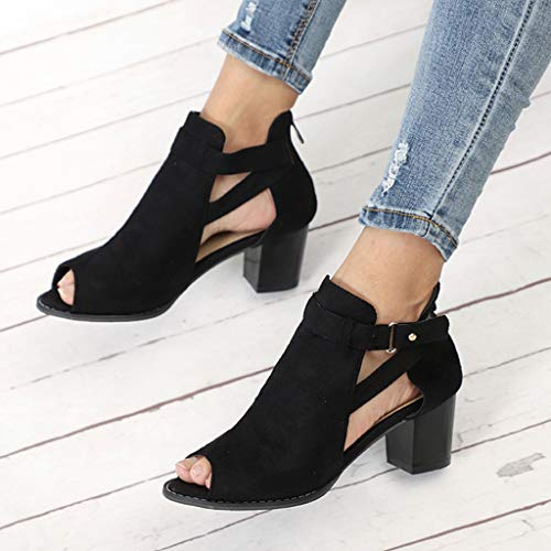 0a55551c5499a Xinantime Womens Cutout Booties Open Toe Slip On Chunky High Block Heel  Pumps Ankle Boots Sandals Casual Shoes …