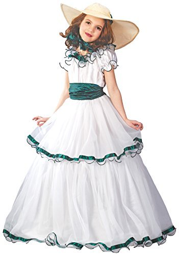 Girls Southern Belle Kids Child Fancy Dress Party Halloween Costume, L (12-14) White -