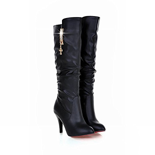 Fashion Pleated Women's Black Martin Long Ornament Concise Shoes Boots Metal Carol HPFZtnt