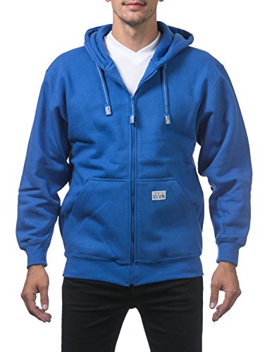 Pro Club Men's Heavyweight Full Zip Fleece Hoodie, Royal Blue, 3X-Large
