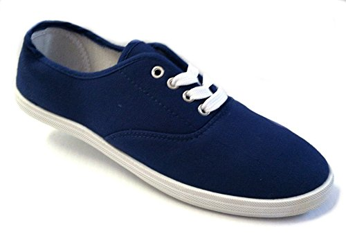 Navy Canvas Sneakers (Shoes 18 Womens Canvas Shoes Lace up Sneakers 18 Colors Available (9 B(M) US, Navy 324))