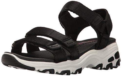 Skechers Cali Women's D'Lites-Fresh Catch Wedge Sandal,Black,7 M US