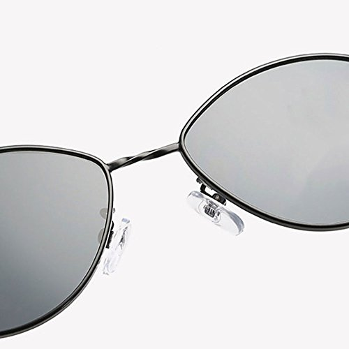 sol niñas hombres personalizables de niños adolescentes Cateye puntas Aolvo con de para Gafas UV400 bols retro de de gafas metal con círculo unisex Gray diseño de Frame Black With marco sol antideslizantes mujer de 54qHawp