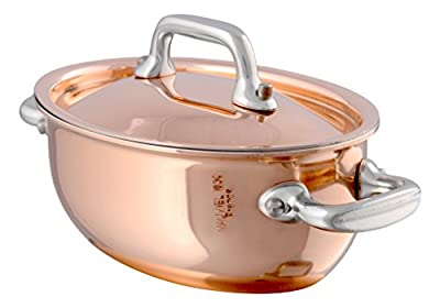 Mauviel 13cm Copper Casserole and Lid SS Handle