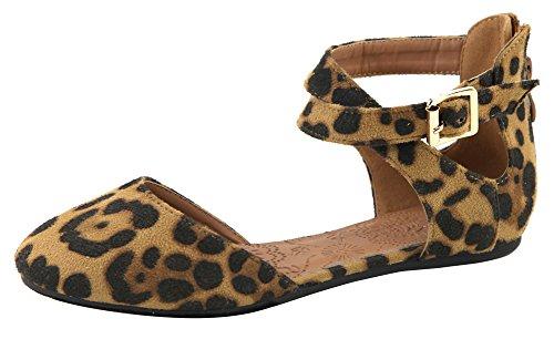 Lovmark Mujer Cruzada Dorsay Hebilla Acento Cremallera Espalda Ballet Plana Leopardo