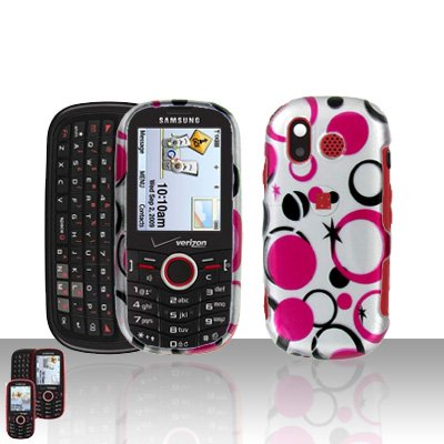 Pink Polka Black Dot Design Snap on Hard Cover Protector Faceplate Skin Case for Verizon Samsung Intensity U450 + Belt Clip (Ship in Cardboard ()