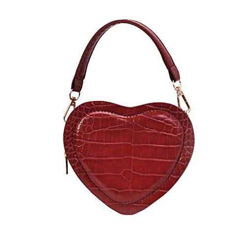 Vielgluck Heart Shaped Crossbody Bag for Women, Crocodile Leather Personality Handbag Mini Chain Bag Travel Crossbody Small Bag Purse