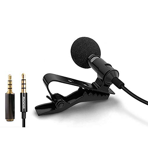 Lavalier Microphone, Lapel Condenser Collar mic kit with Easy Clip on System omnidirectional, Well Suited for iPhone, Android Smartphone, SLR Camera, iPad, Tablet, Computer PC, Hands Free