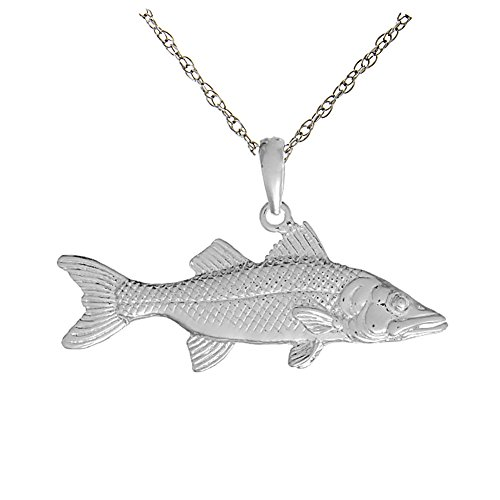 925 Sterling Silver Nautical Necklace Charm Pendant with 18 Inch Chain, 3D Snook Fish by Million Charms
