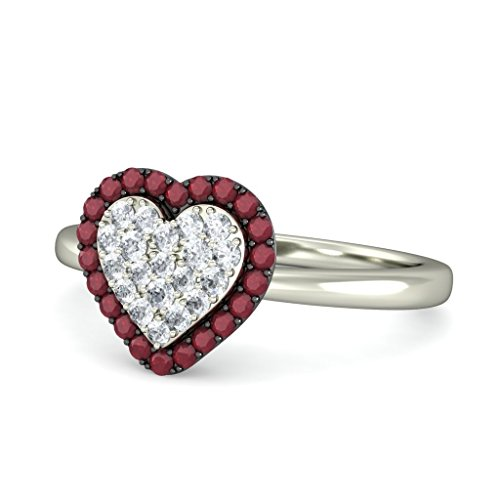 18K Or Blanc, 0,12carat Diamant Taille ronde (IJ | SI) Rubis et diamant Bague