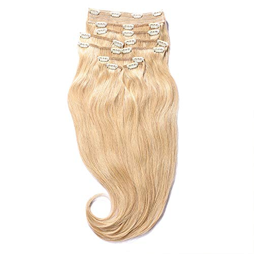 - YONNA Remy Human Hair Clip in Extensions Double Weft Long Soft Straight 10 Pieces Thick to Ends Full Head Golden Blonde #14 22inch 220g