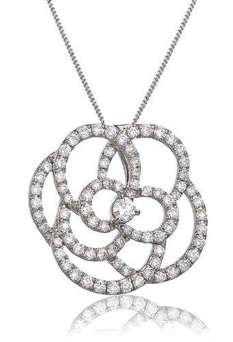 1.10CT Certified G/VS2 Round Brilliant Centre Large Flower Diamond Pendant in 18K White Gold