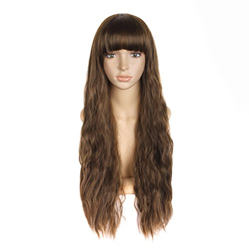 MapofBeauty 28 Inch/70cm Beautiful Women's Flat Bang Long Wave Curly Wig -