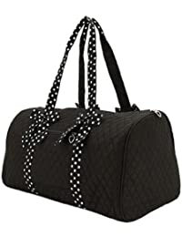"Large Quilted Solid Color 21"" Duffle Bag with Polka Dot Detachable Ribbons"