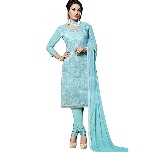Ladyline Cotton Lakhnavi Embroidery Salwar Kameez Womens Indian Dress Ready to Wear Salwar (Blue Cotton Salwar Kameez)