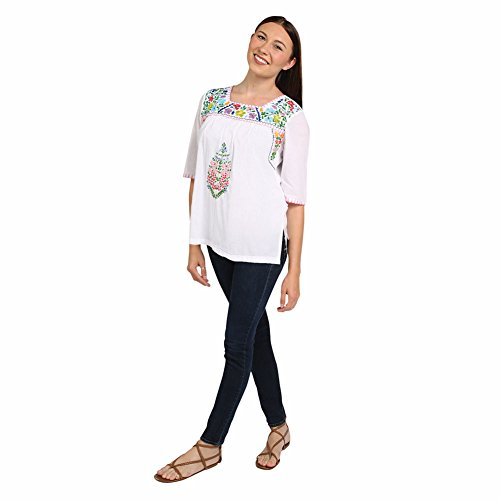 Women's Peasant Tunic Top - Embroidered Flowers White Cotton Shirt - 2X (Sexy Mexican Woman)