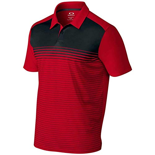 Oakley Nelson Polo Golf Shirt Mens - 465 RED LINE - SMALL