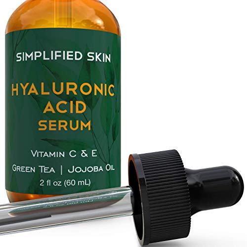 41BKq0bVtpL - Hyaluronic Acid Serum for Face & Eyes (2 oz) with Vitamin C, E & Green Tea for Anti-Aging, Moisturizing, Antioxidant & Wrinkle Treatment. Best Hydrating Pure Facial Serum by Simplified Skin