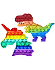 Jacshy Unicorn and Dinosaur Pop It Fidget Toy Push Bubbles Sensory Toy Gifts, Stress Relief and Anti-Anxiety Tools for Adult