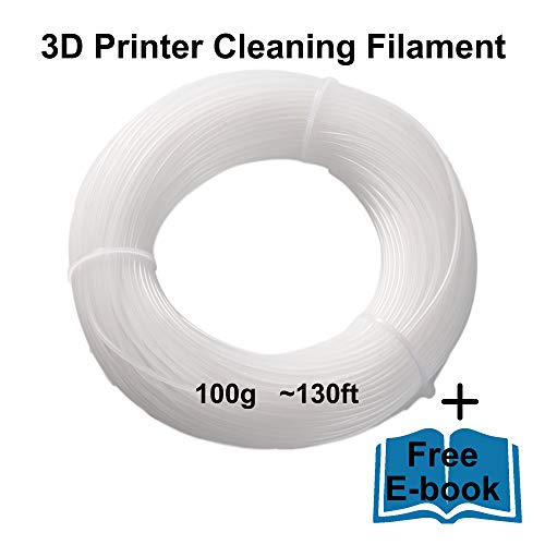 TwiceForPrice 3D Printer Cleaning Filament 1.75mm | 0.1kg(0.22lb) / ~130ft Kit For All FDM Printers And Nozzles | Premium Quality | Includes Instructions and E-Book
