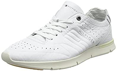 Tommy Hilfiger Men's Unlined Th Light Leather Runner Low-Top Sneakers, (White 100), 6.5 UK,Fm0Fm01630