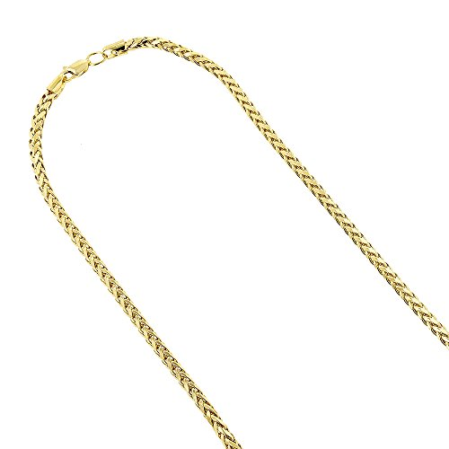IcedTime 14K Yellow Gold Round Franco Chain 2.7mm Diamond Cut Hollow 24