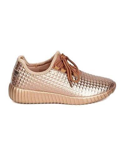 Forever Link Damen Peggy 44 Glitter Metallic gesteppte Schnürschuhe Low Top Fashion Sneaker Roségold **