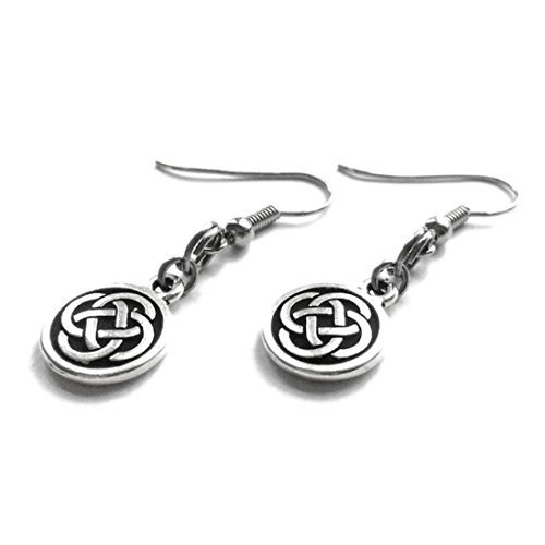 (Silver Celtic Knot Earrings Hypoallergenic Stainless Steel French Hook Wires)