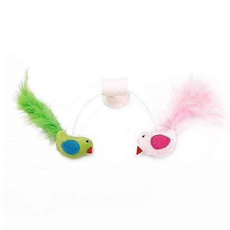 AOLVO Juguete Interactivo de Plumas para Gatos, con diseño de pájaros y Gatos, retráctil