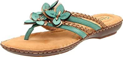 Clarks Women's Brisk Juniper Thong Sandal,Turquoise Leather,5 M US