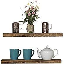 Floating Wall Shelves (Set of 2), Handmade Shelf Made of Rustic Pine by del Hutson Designs (2 x 24 x 5.5-Inch), Dark Walnut Color