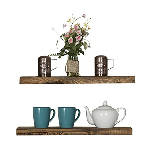 Floating Wall Shelves (Set of 2), Handmade Shelf Made of Rustic Pine by del Hutson Designs (2 x 24 x 5.5-Inch), Dark Walnut Color ()