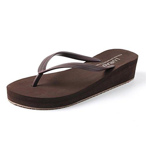Antideslizante Sandalias Desgaste Resistentes Mujer 5 Brown Férula Plataforma Zapatillas Chanclas Femenina Playa Verano Fresca al de Zapatos 4 Talón Sandalias wxFXgpqX