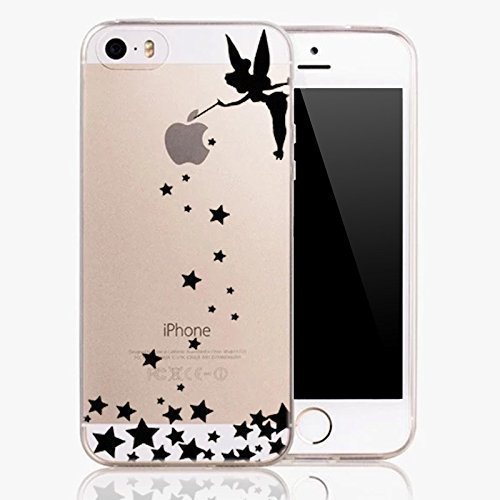 iPhone 6 / 6S ,  Ultra Slim Translucent Silicone Clear Case Gel Cover for Apple - Black Angel Fairy with (Deco Decal)