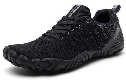 Voovix Mens Barefoot Shoes Athletic Trail Running Shoes Womens Outdoor Walking Shoes for Hiking Cross Training (Black/Dark Grey41)