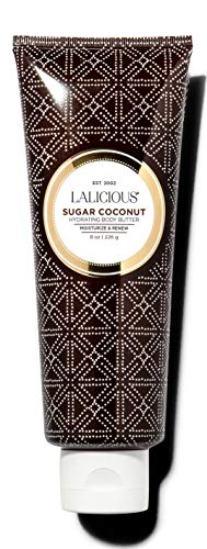 LALICIOUS Sugar Coconut Body Butter - Hydrating Body Moisturizer with Shea Butter, Cucumber Extract & Apricot Oil, No Parabens (8 Ounces)