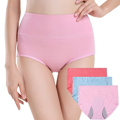 58931cf406b9f7 INNERSY Women's 3 Pack High Cut Postpartum Menstrual Period Protective  C-Section Cotton Panties Underwear