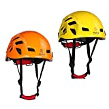 Jili Online 2 Pieces Yellow + Orange Safety Helmet Head Protection Hard Hat for Outdoor Rock Climbing Tree Arborist Aerial Work Rappelling Rescue Protective Gear 21''-24''