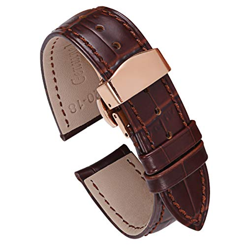 - PBCODE Rose Gold Deployment Clasp Watch Bands Brown Leather Watch Strap 22mm Leather Watch Band Deployment Buckle