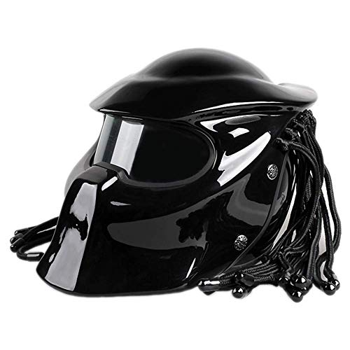 DYM258 Motorcycle Jagged Warrior Predator Front Flip Open Helmet D.O.T Certified Motorbike Riding Harley Retro Scorpion Mask Cross-Country with Braid and LED Light,Bright Black,XL61~62CM
