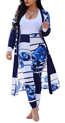 Women's Sexy 2 Pieces Outfit Floral Print Cardigan Cover-up with Pants Set Bodycon Jumpsuit Rompers (X-Large, White ()