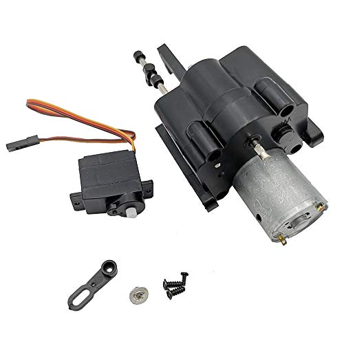 ([RC Car Accessories] Upgraded 2 Speed Gearbox with Shift Servo Spare Part for WPL B14/16/24 C14 C24 (Black, A))