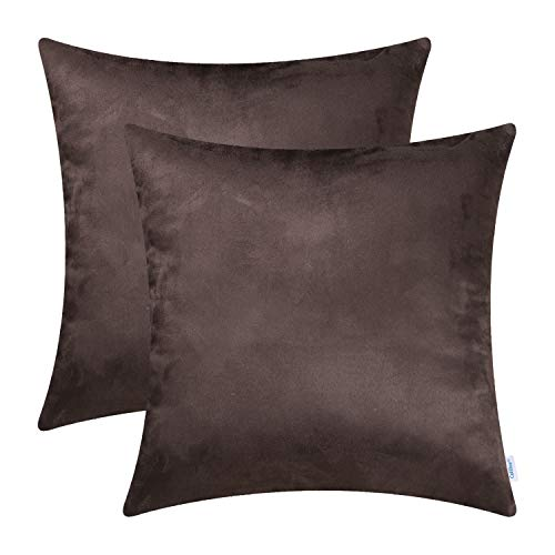 CaliTime Pack of 2 Cozy Throw Pillow Covers Cases for Couch Bed Sofa Super Soft Faux Suede Solid Color Both Sides 18 X 18 Inches Chocolate -