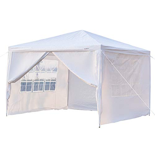 mefeir 10'x10' Canopy Party Wedding Tent w/ 4 Removable Sidewalls Warmer,Steel Tube Waterproof Sun Shelter Anti UV Protection Outdoor Pool Shed -