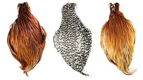 MUSKOKA LIFESTYLE PRODUCT Fly Tying Feathers Hen Neck Cape Combo 3 Pack