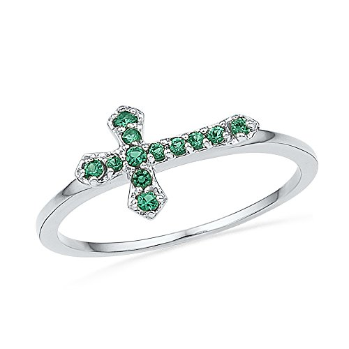 - Jewels By Lux Sterling Silver Womens Round Lab-Created Emerald Cross Religious Ring 1/8 Cttw